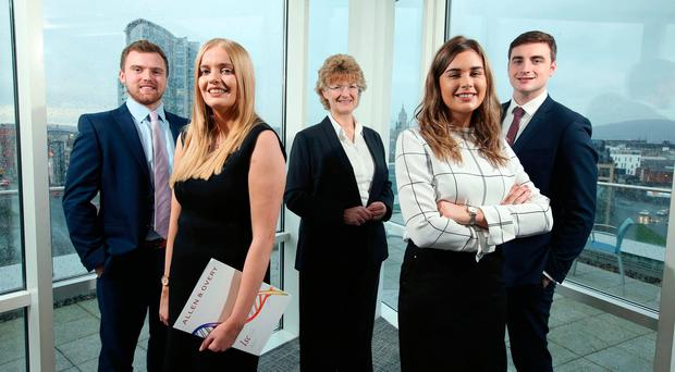 Jane Townsend (centre), head of Allen & Overy's legal services centre, with new recruits Joseph O'Hara, Rachel Morrison, Aisling Taggart and Paul McKay