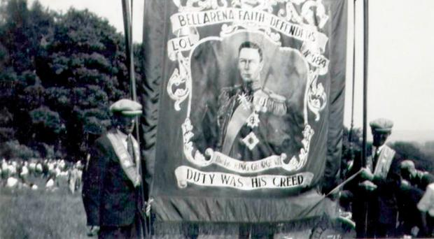 The banner of Bellarena Faith Defenders LOL 984, depicting King George VI. The lodge has issued a public appeal for information regarding its whereabouts