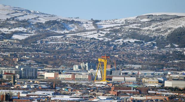 A view of Belfast from the Castlereigh Hills as snow continues to lie across Northern Ireland. Picture by Jonathan Porter/PressEye.com