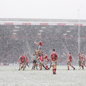 Twickenham Stoop was a winter wonderland for Ulster on Sunday. Photo by Henry Browne/Getty Images
