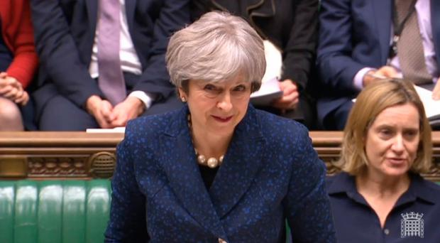 Prime Minister Theresa May gives a statement on Brexit in the House of Commons, London. PA Wire