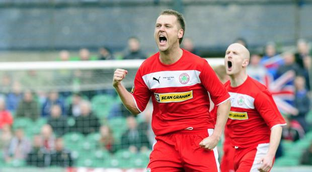 PACEMAKER BELFAST 04/05/2013 Glentoran v Cliftonville Irish Cup Final Cliftonville's Ciaran Caldwell celebrates Joe Gormley's goal during Irish Cup Final at Windsor park in Belfast.