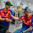 All kitted out: Ian Hutchinson (left) and Lee Johnston will ride for Honda at the 2018 NW200, Isle of Man TT and Ulster Grand Prix