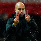 On the defensive: Manchester City manager Pep Guardiola