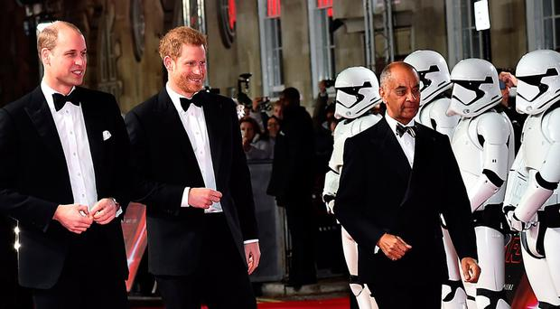 The Duke of Cambridge and Prince Harry attending the European premiere of Star Wars: The Last Jedi (Matt Crossick/PA Wire)