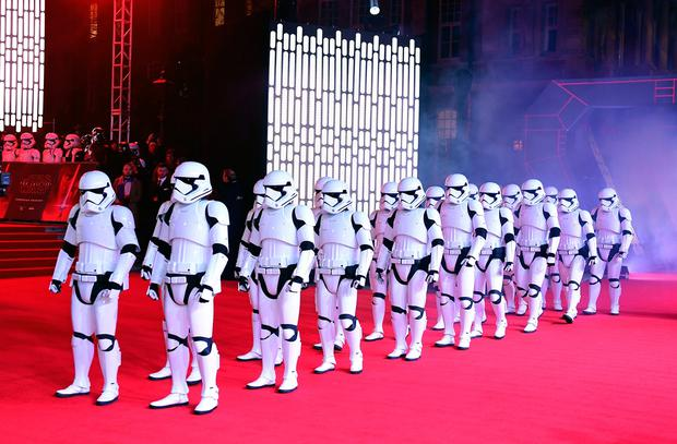Stormtroopers attending the European premiere of Star Wars: The Last Jedi (Ian West/PA Wire)