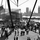 Crowds at London's South Bank during the Festival of Britain in 1951
