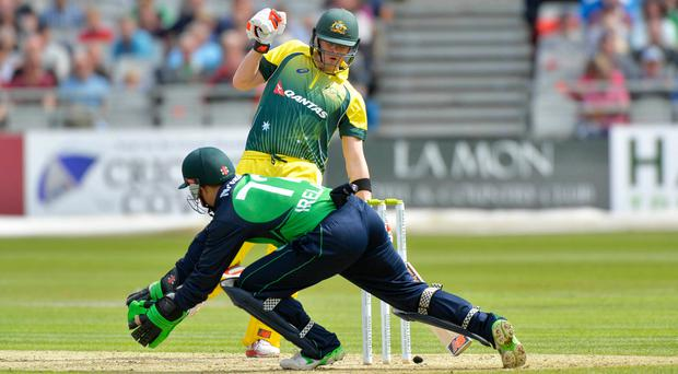 Bit of previous: Niall O'Brien takes on Aussie ace Steve Smith at Stormont in 2015