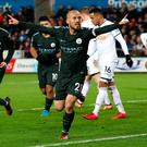 City joy: David Silva celebrates after netting his second goal of the night for Manchester City