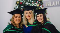 Celebrating Ulster University's winter graduation ceremonies 2017 at the Coleraine campus today Graduating in mental health nursing are frpm left, Stephanie Louge, Megan McKenna & Julia Best. Picture John Murphy Aurora PA.