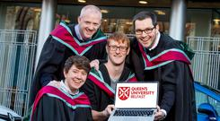 Queens Graduations. Andrew Wright, Davey McGlade, Gerard Lundy, Peter Gallagher
