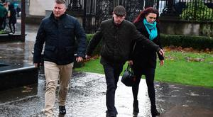Jayda Fransen, right, arrives at Belfast Laganside Courts along with Paul Golding, left on December 14, 2017 in Belfast, Northern Ireland. (Photo by Charles McQuillan/Getty Images)