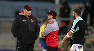 Joint message: Ulster head coach Jono Gibbes (left) and Director of Rugby Les Kiss