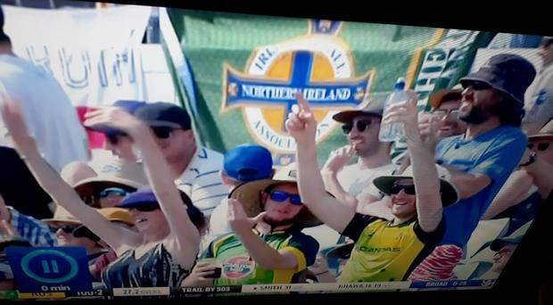 Northern Ireland fans watching the Ashes on day one of the tournament.