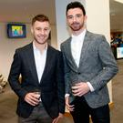 Pals: Jonathan Rea and Glenn Irwin at Waterfront yesterday