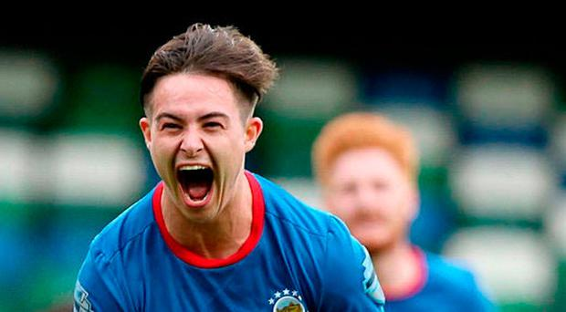 Kicking on: Linfield winger Jordan Stewart