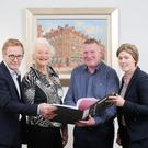 Meeting to take on the challenge of judging this year's Belfast Telegraph Sports Awards are Dr Shaun Ogle (Performance Director, Sport Northern Ireland), Olympic legend Dame Mary Peters, Jim Gracey (Belfast Telegraph Group Sports Editor and Chair of the judges) and Angela Platt (Vice-Chair NI Sports Forum.)
