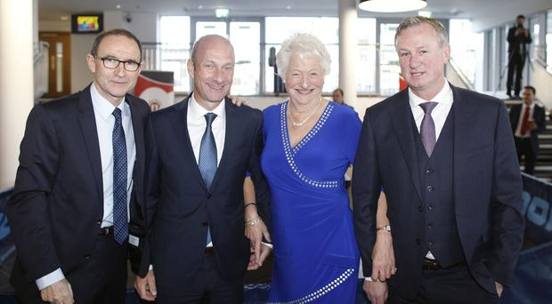 Football Managers Martin O'Neill and Michael O'Neill attending the Mary Peters Trust &Sport Changes Life lunch, pictured with Stephen Watson and Dame Mary Peters Pic by Peter Morrison