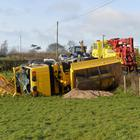 16/12/2017 General views of a DOE gritting lorry which skidded off the Church road in Ballyclare and ended up in a farmers field. Mandatory Credit © Stephen Hamilton/Presseye