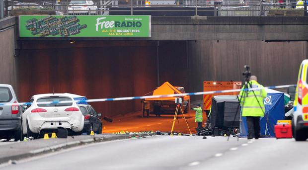 The scene of a multi-vehicle crash at the entrance to the underpass on Lee Bank Middleway, near Edgbaston, at the junction of Bristol Road, in Birmingham, which left six people dead and a seventh critically injured. PRESS ASSOCIATION Photo. Picture date: Sunday December 17, 2017. See PA story POLICE Birmingham. Photo credit should read: Aaron Chown/PA Wire