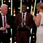 Stephen Maguire (left) and Christian Malcolm (centre) receive the Coach of the the Year at BBC Sports Personality of the Year 2017 at the Liverpool Echo Arena.