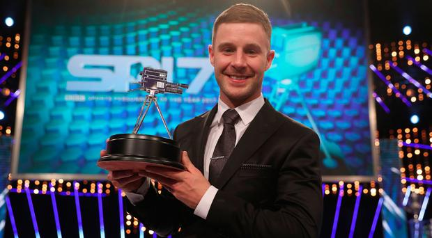Jonathan Rea with his second place trophy at BBC Sports Personality of the Year 2017