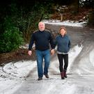 Pat Catney and wife Rosemary out walking near their home