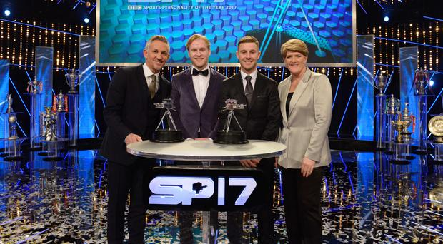 Jonathan Rea (second right) picks up his BBC Sports Personality of the Year runner-up award from Gary Lineker (left) and Clare Balding (right). Also included is third-placed Jonnie Peacock.