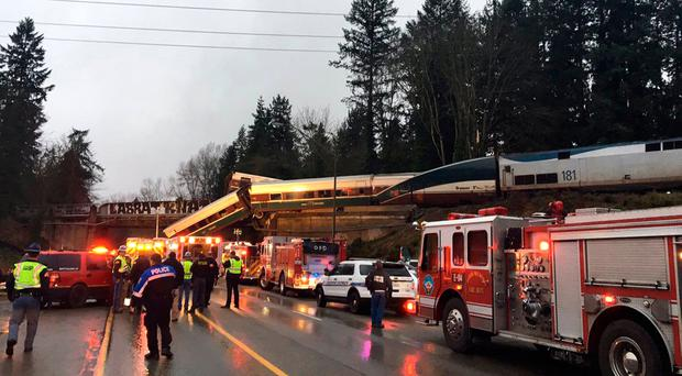 Amtrak train derailed south of Seattle on Monday, Dec. 18, 2017. (Washington State Patrol via AP)