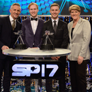Top table: (from left) BBC Sports Personality of the Year host Gary Lineker, third-placed Jonnie Peacock, Jonathan Rea and co-host Claire Balding at Sunday night's awards ceremony in Liverpool