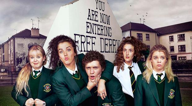 Some of the cast of Derry Girls, a new comedy set in 1990s Northern Ireland against the backdrop of the Troubles