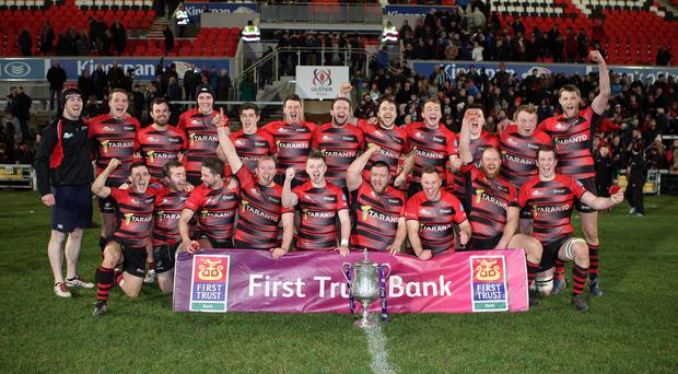 City of Armagh celebrate their historic Senior Cup success.