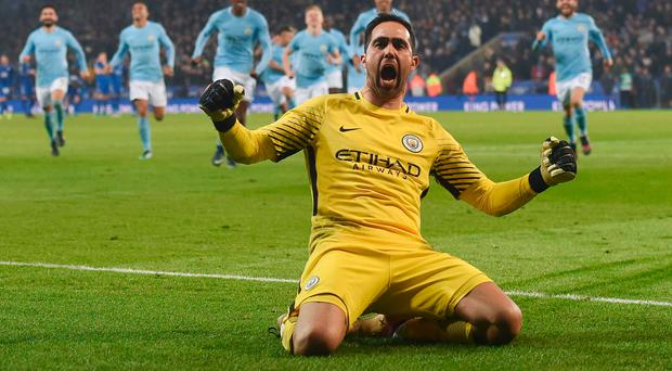 Cup joy: Man City keeper Claudio Bravo after his decisive penalty save