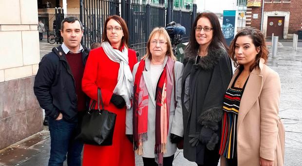 Joe McCann's widow Anne with daughters Aine and Nuala, flanked by solicitor Rosie Kinnear (right) and Alan Brecknell of the Pat Finucane Centre