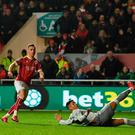 BRISTOL, ENGLAND - DECEMBER 20: Joe Bryan of Bristol City scores his sides first goal during the Carabao Cup Quarter-Final match between Bristol City and Manchester United at Ashton Gate on December 20, 2017 in Bristol, England. (Photo by Dan Mullan/Getty Images)