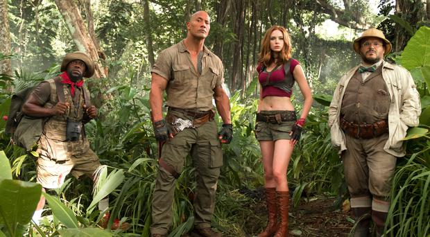 Jungle fever: (from left) Kevin Hart, Dwayne Johnson, Karen Gillan and Jack Black feel the heat