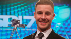 Worthy recipient: Northern Ireland's Jonathan Rea displays his runner-up trophy at the SPOTY awards