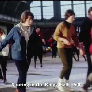 Clip shows members of the public ice-skating at King's Hall during the 60's.