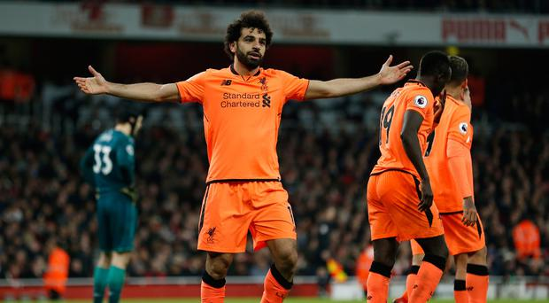 Liverpool midfielder Mohamed Salah celebrates scoring the team's second goal. Pic Getty