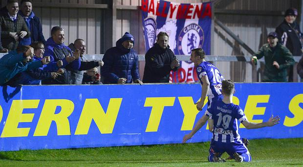 Coleraine's Ian Parkhill pictured after scoring his team's first goal against Warrenpoint. Picture By: Arthur Allison/Pacemaker Press