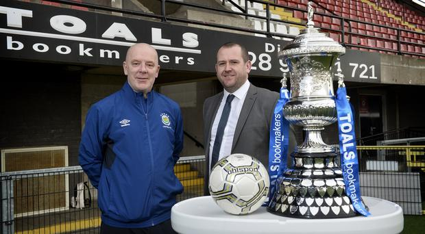 Newington manger Conor Crossan pictured with Linfield Swifts manager David Dorian ahead of the Steel and Sons Cup final. Pic: Stephen Hamilton/Co Antrim FA
