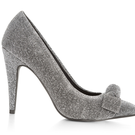 New Look Silver Glitter Bow Pointed Court Heels, £13.99