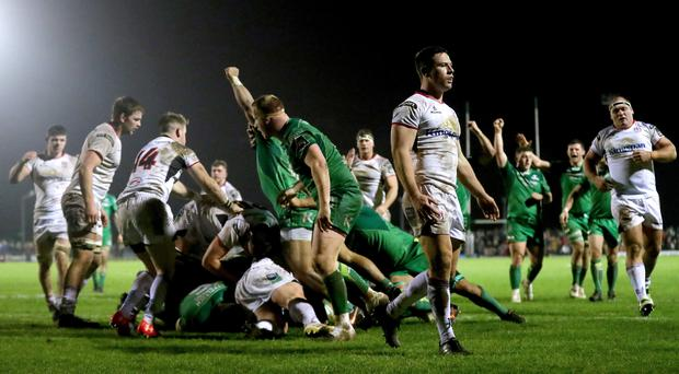 Down and out: A dejected John Cooney after a Connacht try