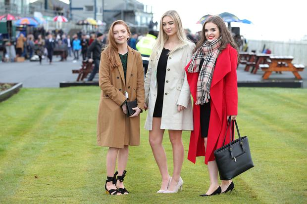 Press Eye - Belfast - 26th December 2017 - Boxing Day Meeting at Down Royal Racecourse, Maze, Lisburn. Emma Dunlewdy, Tina Long and Hannah Chambers pictured at Down Royal. Photo by Kelvin Boyes / Press Eye