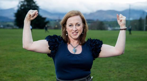 Powerlifting medal winner Lucille Rowan, 50, who teaches mathematics at St Malachy's High School in rural Co Down.