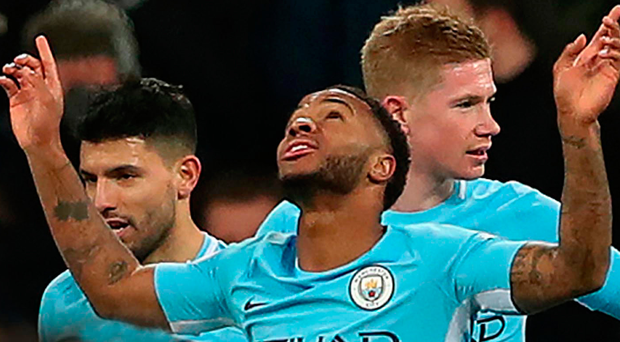 Hip Hur-rah: Raheem Sterling celebrates his winner at Newcastle