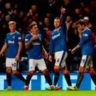 Danny joy: Rangers' Danny Wilson (second from right) celebrates scoring his side's first goal