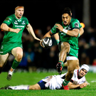 Powerhouse: Connacht's Bundee Aki leaves Ulster's Louis Ludik in his wake at the weekend