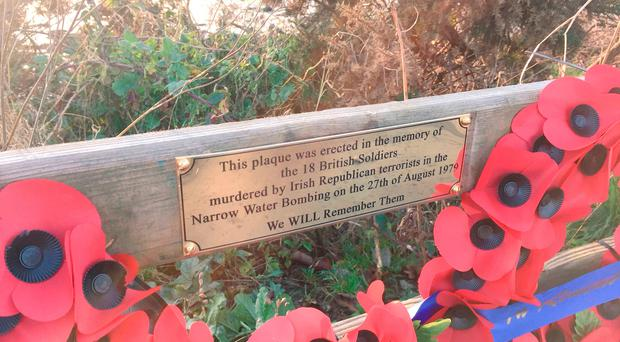 The new plaque at Narrow Water in Co Down