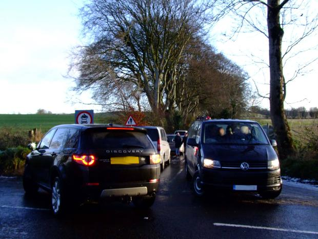Cars flouting the ban on the Dark Hedges. Pic: Bob McCallion